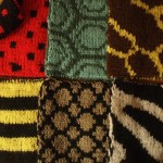 Double knitted animal squares